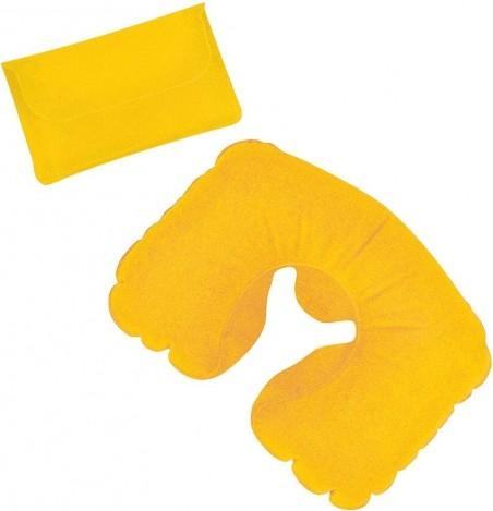 Желтая надувная дорожная подушка в футляре