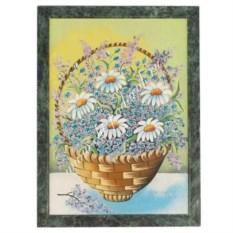 Картина в рамке из змеевика Полевые цветы