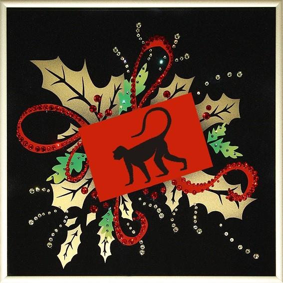 Картина Swarovski Новогодняя открытка - Год обезьяны