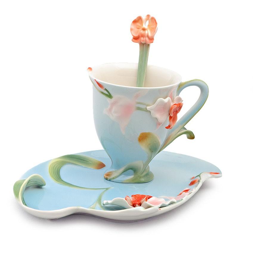 Чайная пара Лилия на синем