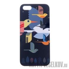 Чехол для IPhone 5 Птицы на темно-синем