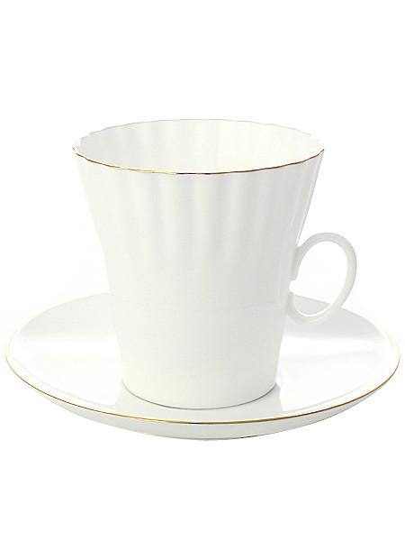 Фарфоровая чайная чашка с блюдцем Золотой кантик