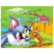 Картина-раскраска по номерам на холсте Том и Джерри