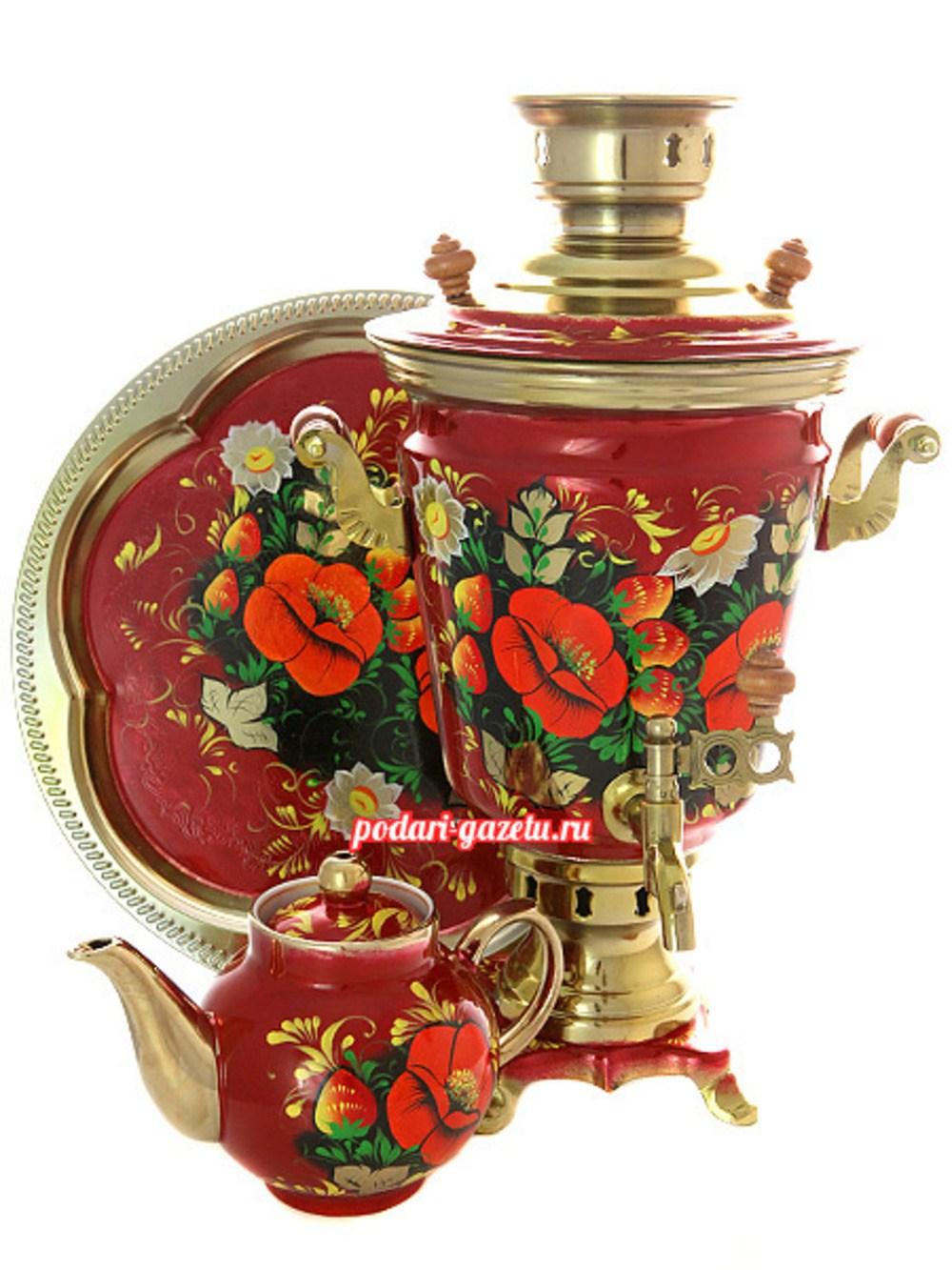 Набор: электрический самовар на 4 литра с художественной росписью Маки на бордовом фоне