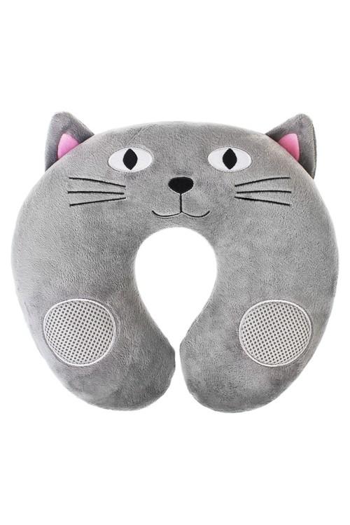 Подушка-подголовник со стереодинамиками Котик