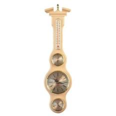 Бежевые настенные часы с барометром и термометром