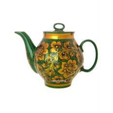 Заварочный чайник с росписью Кудрина на зеленом фоне