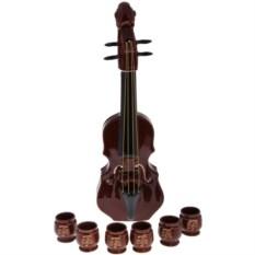 Набор из штофа Скрипка и шести рюмок ручной работы