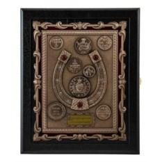 Настенная кожаная ключница Подкова с монетами