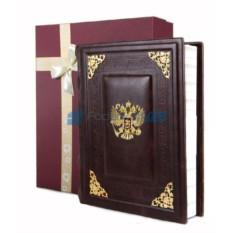 Кожаный фотоальбом Герб в коробке