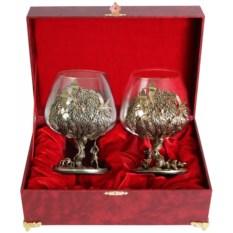 Набор из двух бокалов для коньяка Охота на птиц