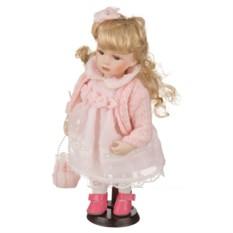 Фарфоровая кукла в розовом наряде
