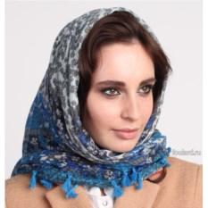 Синий женский платок с кисточками Laura Milano