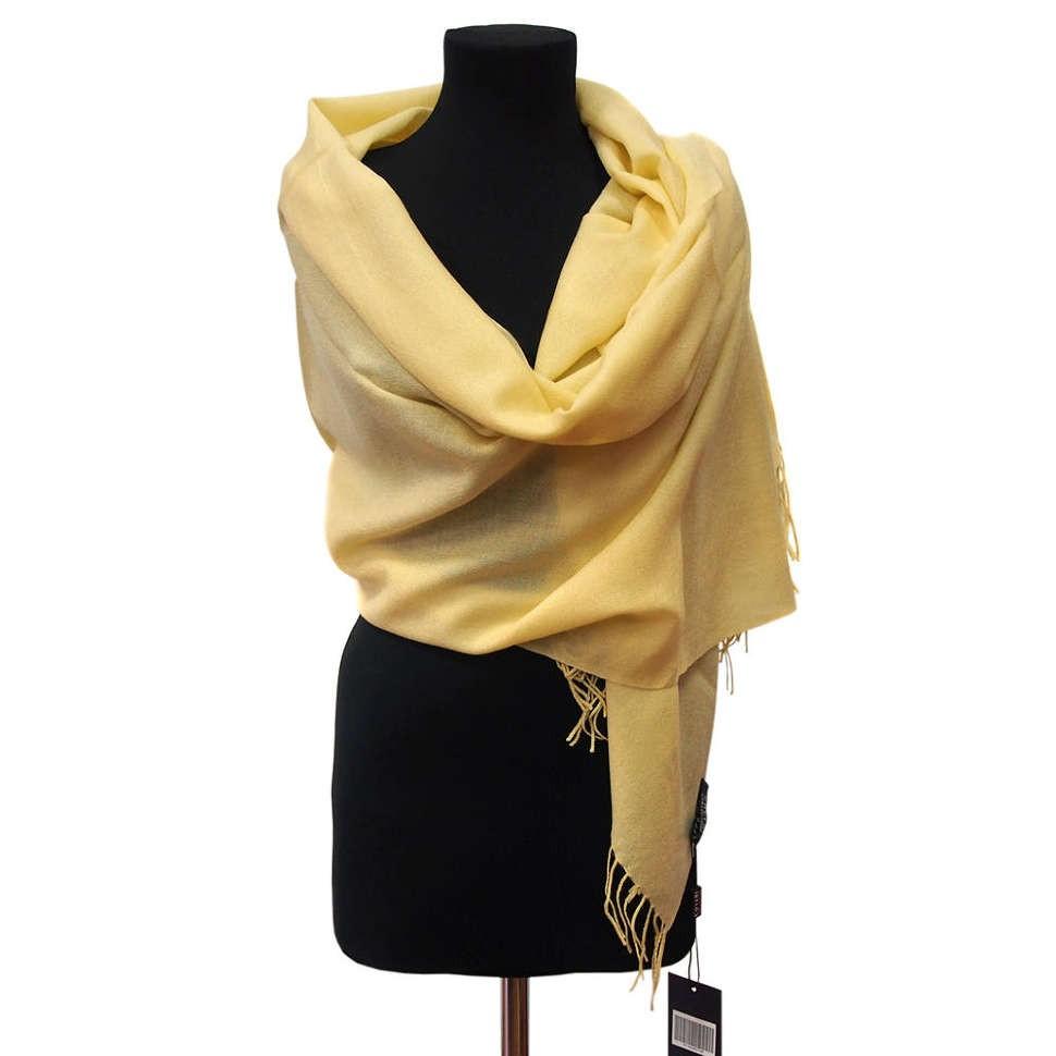 Однотонный бледно-желтый палантин Coveri Collection