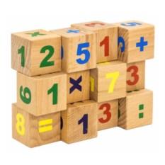 Кубики Цифры (неокрашенные, 12 штук)