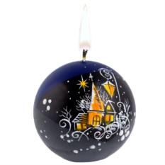 Свеча ручной работы «Ночной город» в форме шара