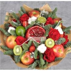 Букет из фруктов, цветов и зефира Зефирчик