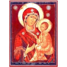 Тихвинская икона Божьей Матери на доске