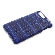 Синий глянцевый чехол на iPhone 7 plus из крокодиловой кожи