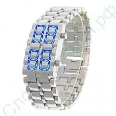 Диодные LED часы-браслет Самурай, серебристые