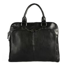 Черная кожаная сумка с замком