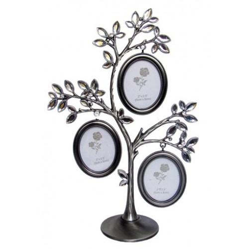 Фоторамка Семейное дерево со стразами на 3 фото