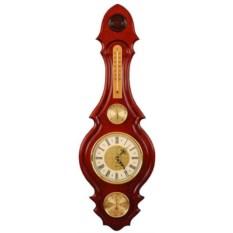 Часы с барометром цвета красного дерева