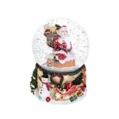Музыкальный шар со снегом Дед Мороз на крыше с подарками