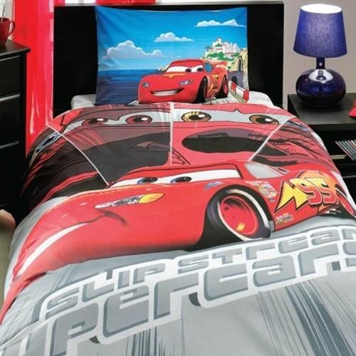 Красно-серое детское постельное белье Cars Face Movie Tac