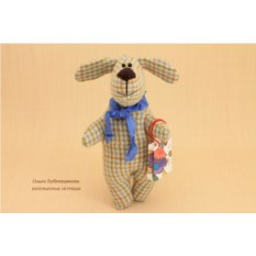 Авторская игрушка Собака в клеточку. Флоризель