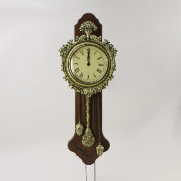 Настенные часы с маятником и гирями Букет