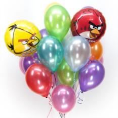 Букет из шаров ассорти металлик с Angry Birds