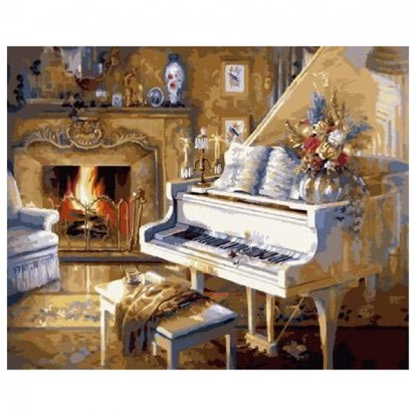 Картина-раскраска по номерам на холсте Белый рояль