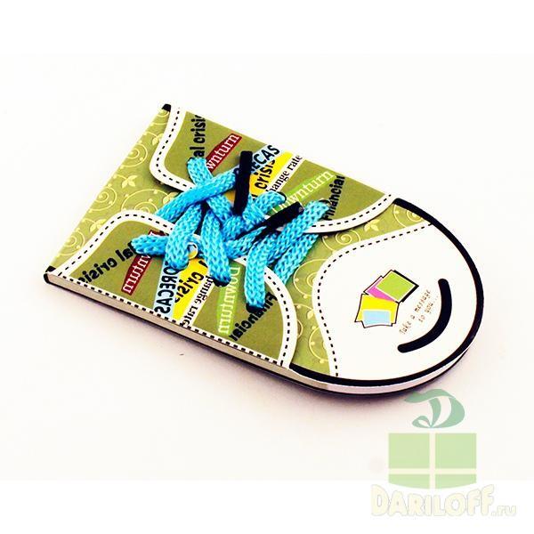 Блокнот Кед со шнурками зеленый