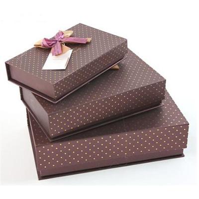 Набор коробок 3 в 1, коричневые с бантом