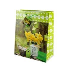 Бумажный ламинированный пакет Желтые цветы