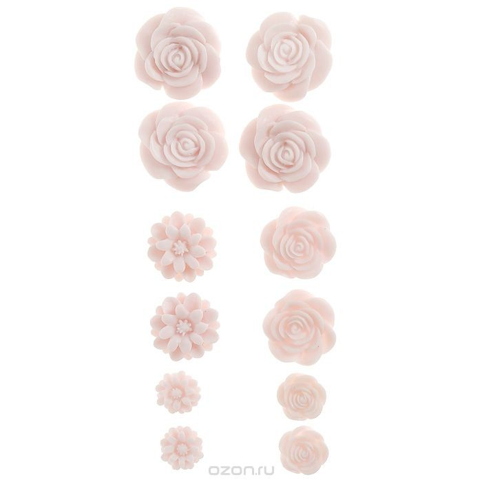 Набор объемных цветов для скрапа Нежно-розовые