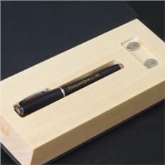 Набор ручка Parker и серебряные запонки Люкс с гравировкой