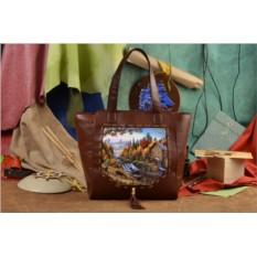 Женская сумка-шопер с принтом Осенний лес