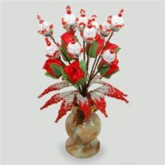 Цветок счастья из горного хрусталя в вазочке из оникса