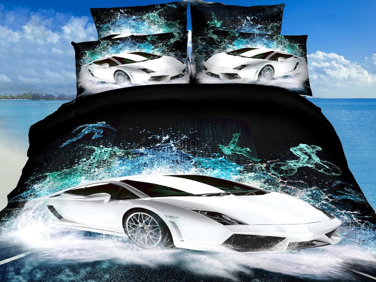 Евро комплект постельного белья 3D, черный с белой машиной