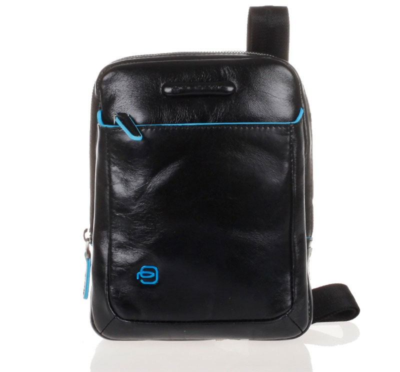 Кожаная черная сумка с плечевым ремнем Piquadro Blue Square