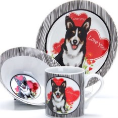 Набор детской посуды 3 предмета Собачка с сердцем