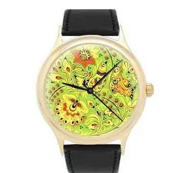 Часы Хохлома (зеленые)