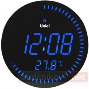 Электронные сетевые настенные часы Uniel UTL10B синие