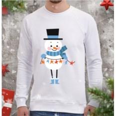 Мужской свитшот Снеговик с гирляндой (звезды)