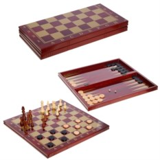 Игра 3 в1 Шахматы, шашки, нарды , размер 48 х 24 х 5см