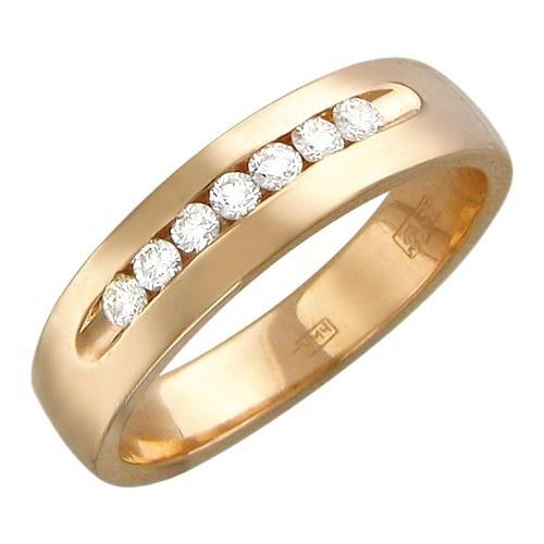 Обручальное кольцо с 7 бриллиантами весом 0.25 карат
