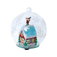 Новогодний стеклянный шар с избушкой и подсветкой