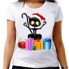 Женская футболка Кот с подарками